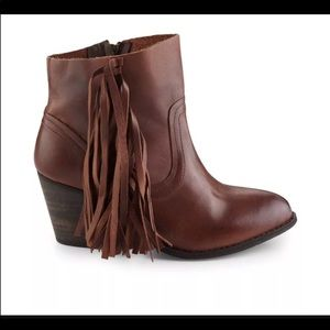Brand new in box Leather Fringe Bootie Boot